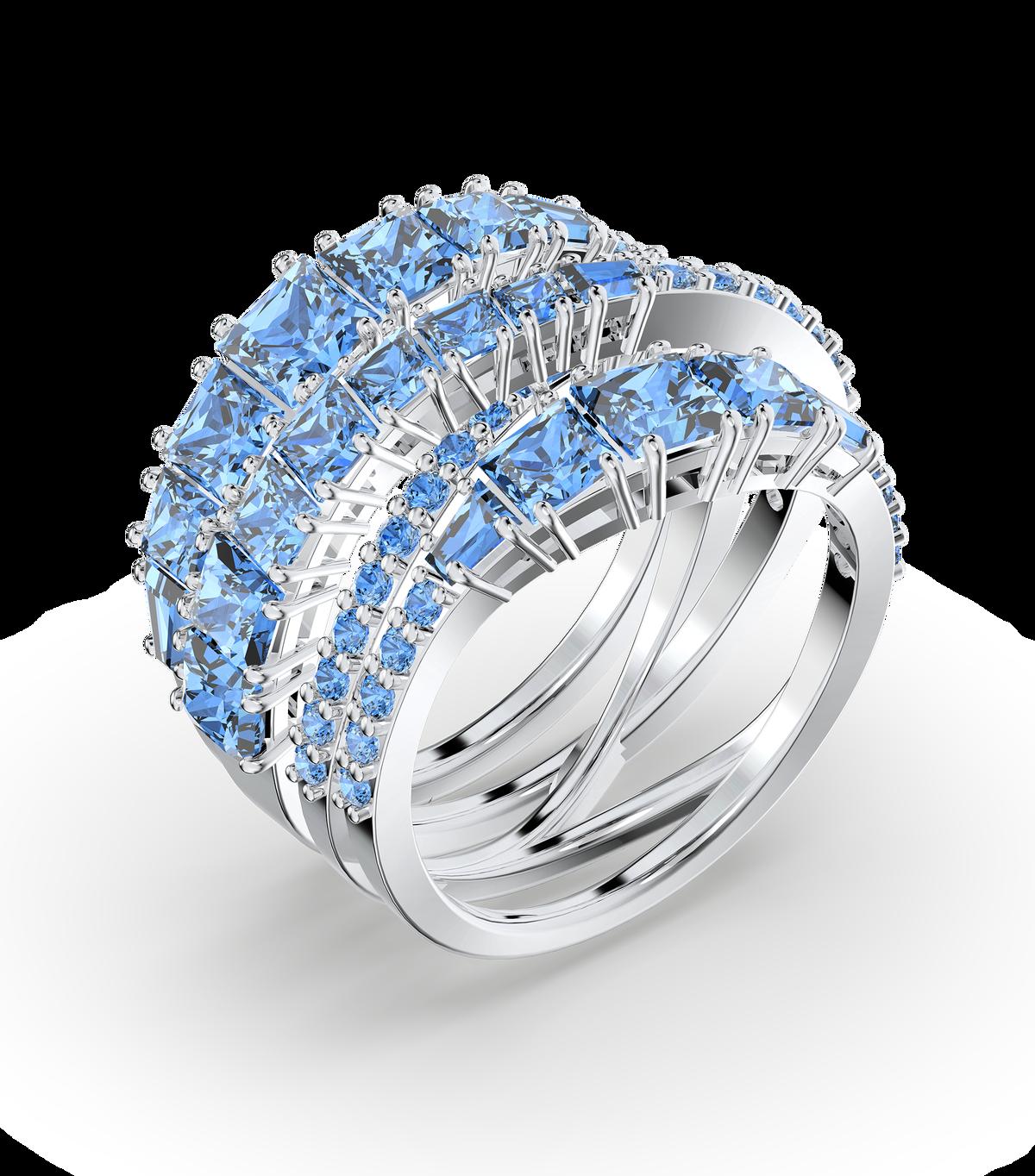 خاتم Twist ملفوف، لون أزرق، طلاء روديوم