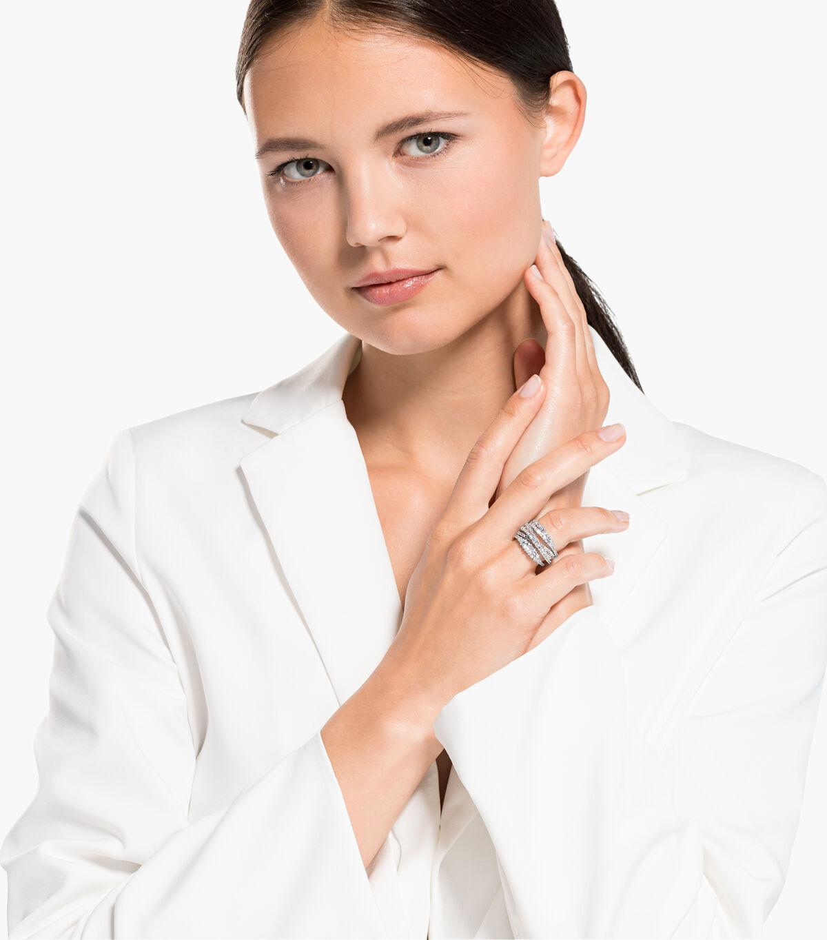 خاتم Twist ملفوف، لون أبيض، طلاء روديوم