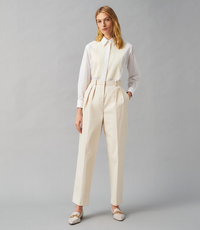 CANVAS PLEATED TROUSER