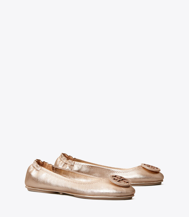 Minnie Travel Ballet Flat, Metallic Leather