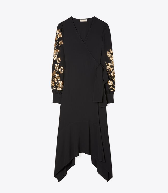EMBROIDERED WRAP DRESS