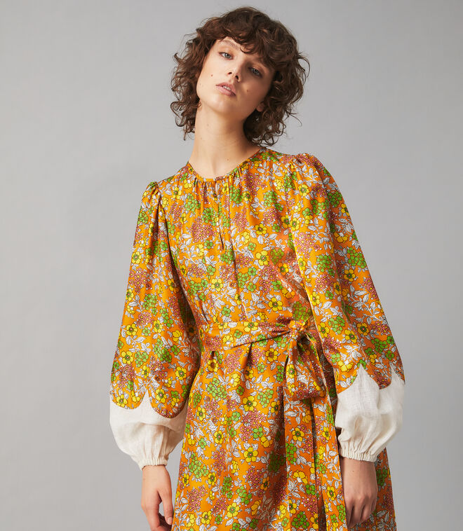WALLPAPER FLORAL SILK DRESS