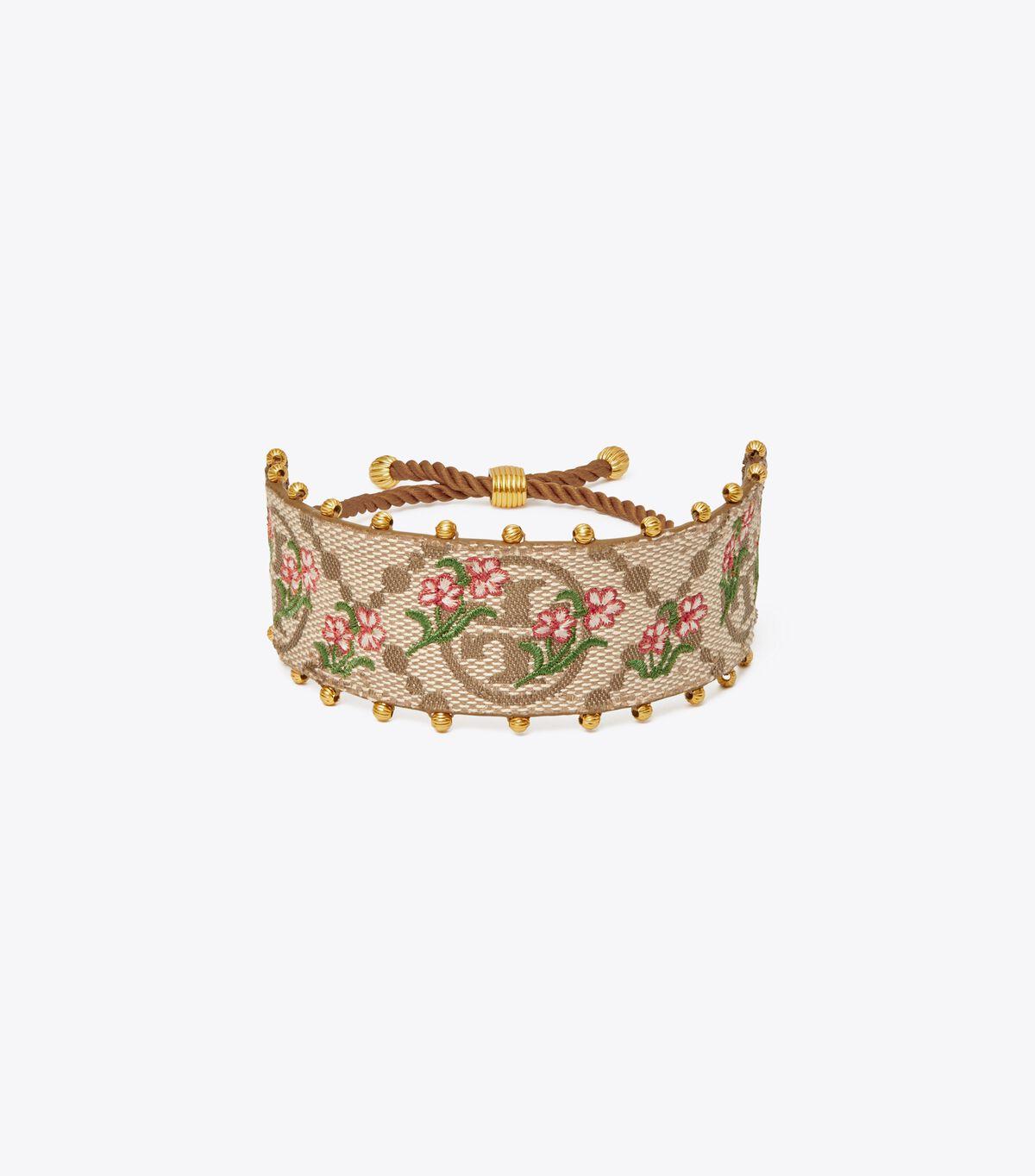 T Monogram Floral Bracelet