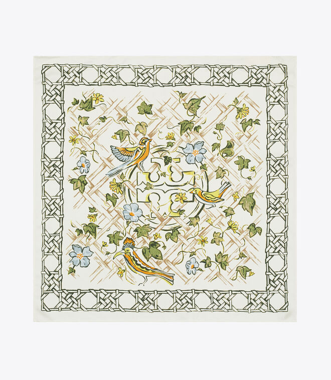 PAINTED CANING WITH BIRDS NECKERCHIEF