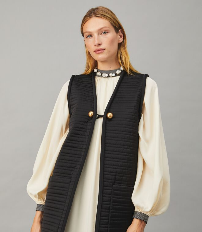 Long Quilted Satin Vest