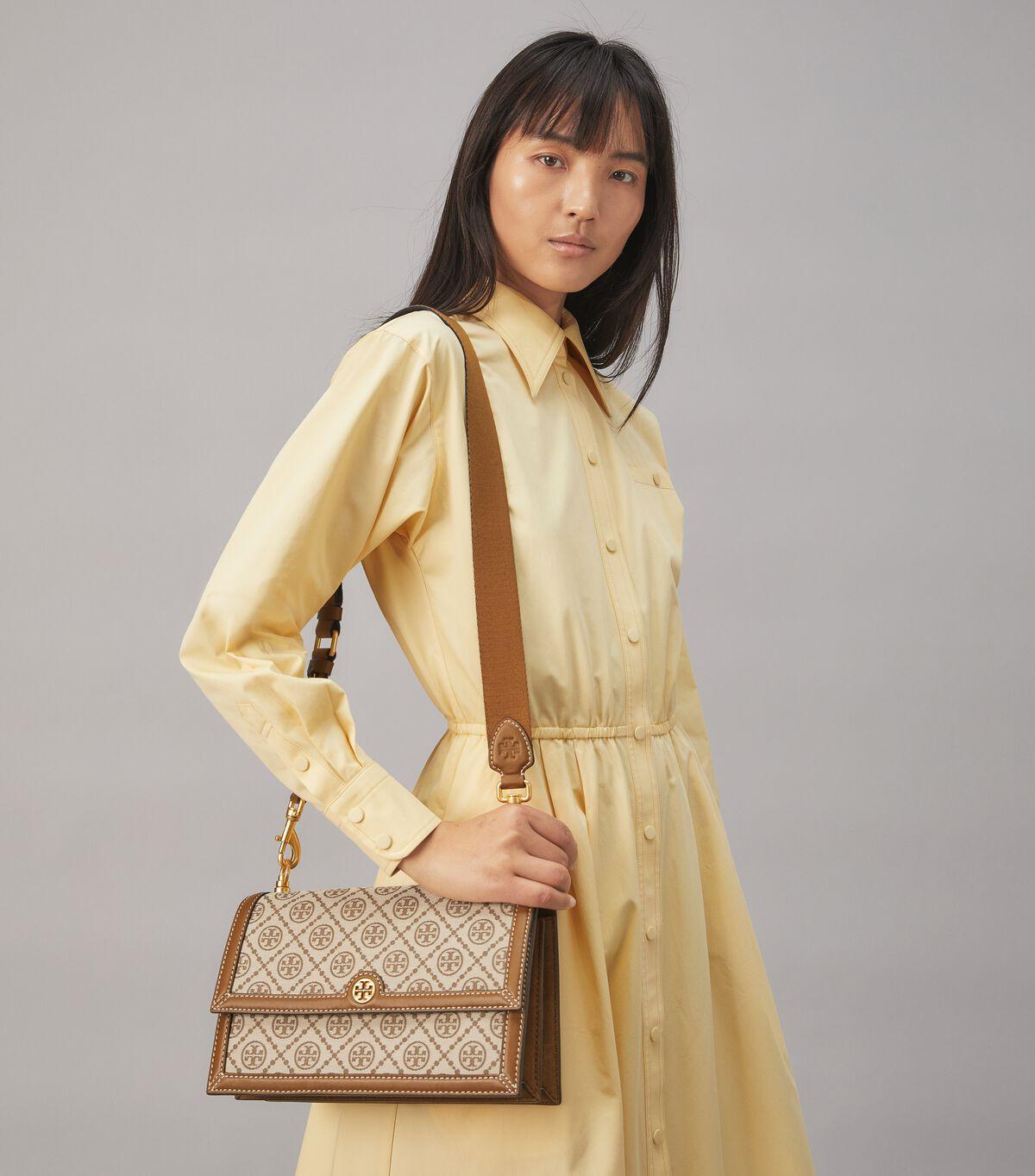 T Monogram Jacquard Shoulder Bag
