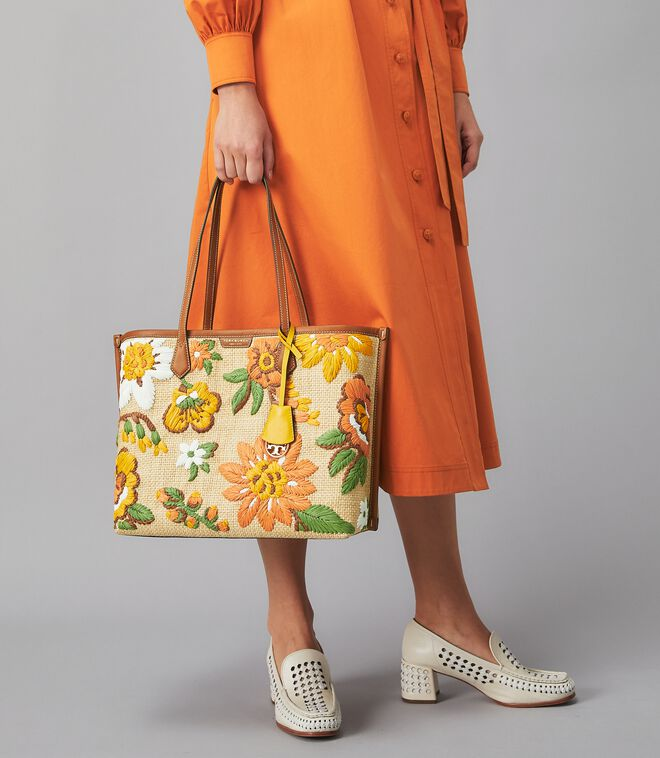 PERRY EMBROIDERED STRAW SMALL TRIPLE-COMPARTMENT TOTE