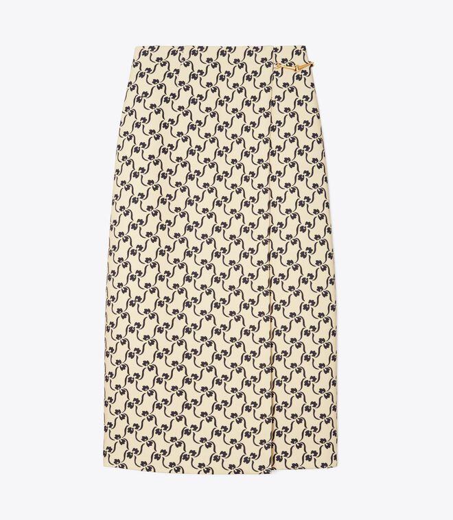 Twill Crepe Wrap Skirt