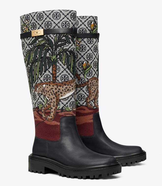 T Monogram T Hardware Embroidered Boot