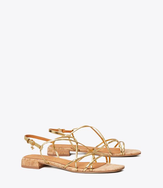 Penelope Metallic Flat Sandal