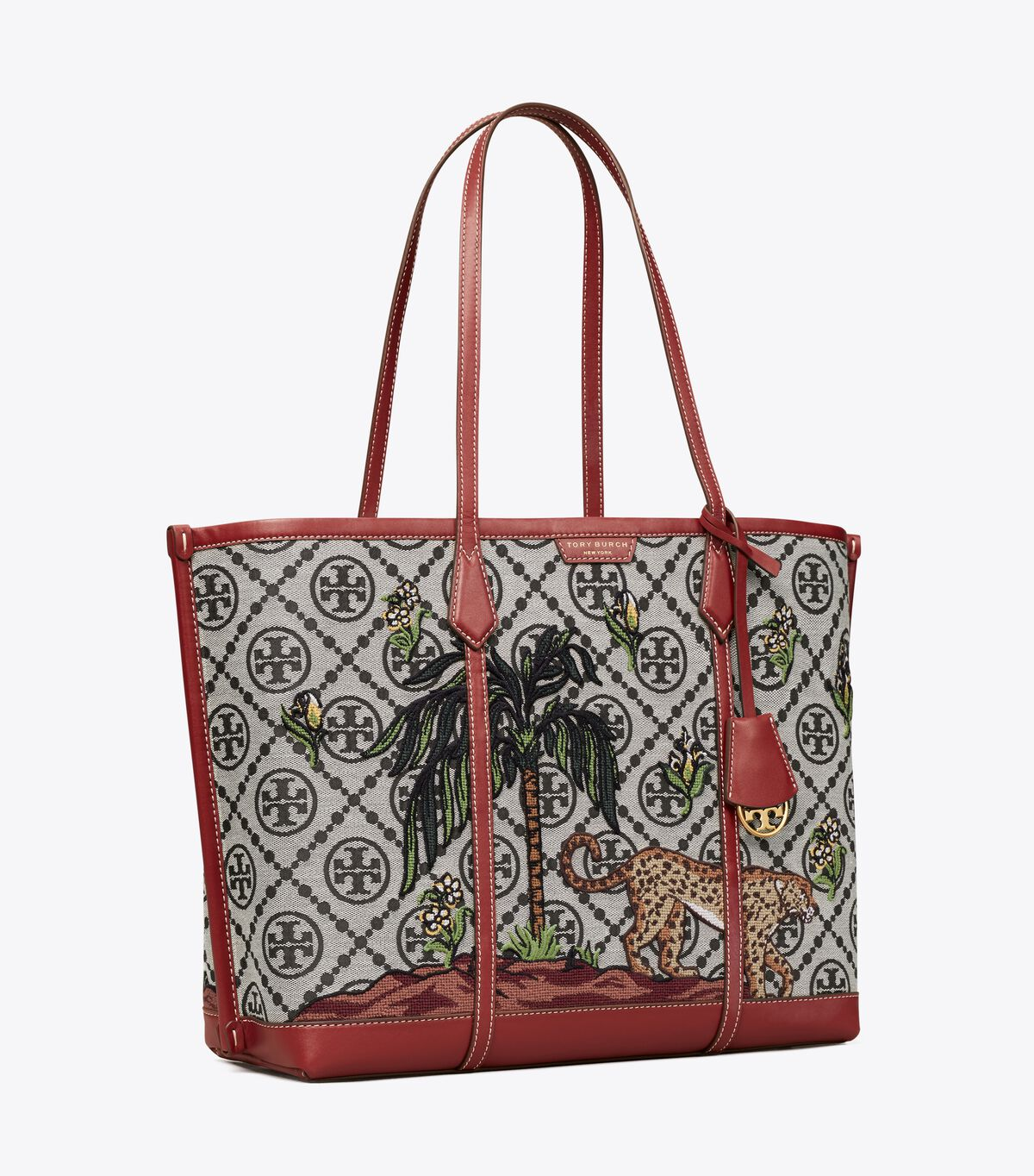 Perry Embroidered T Monogram Triple-Compartment Tote Bag
