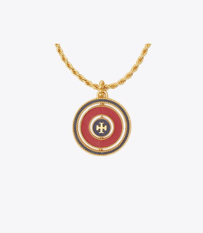 Milgrain Logo Spinner Necklace